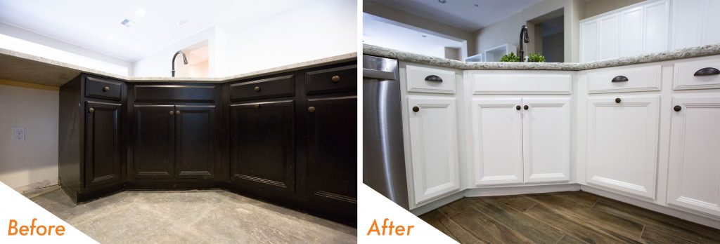 before and after cabinet refinish.